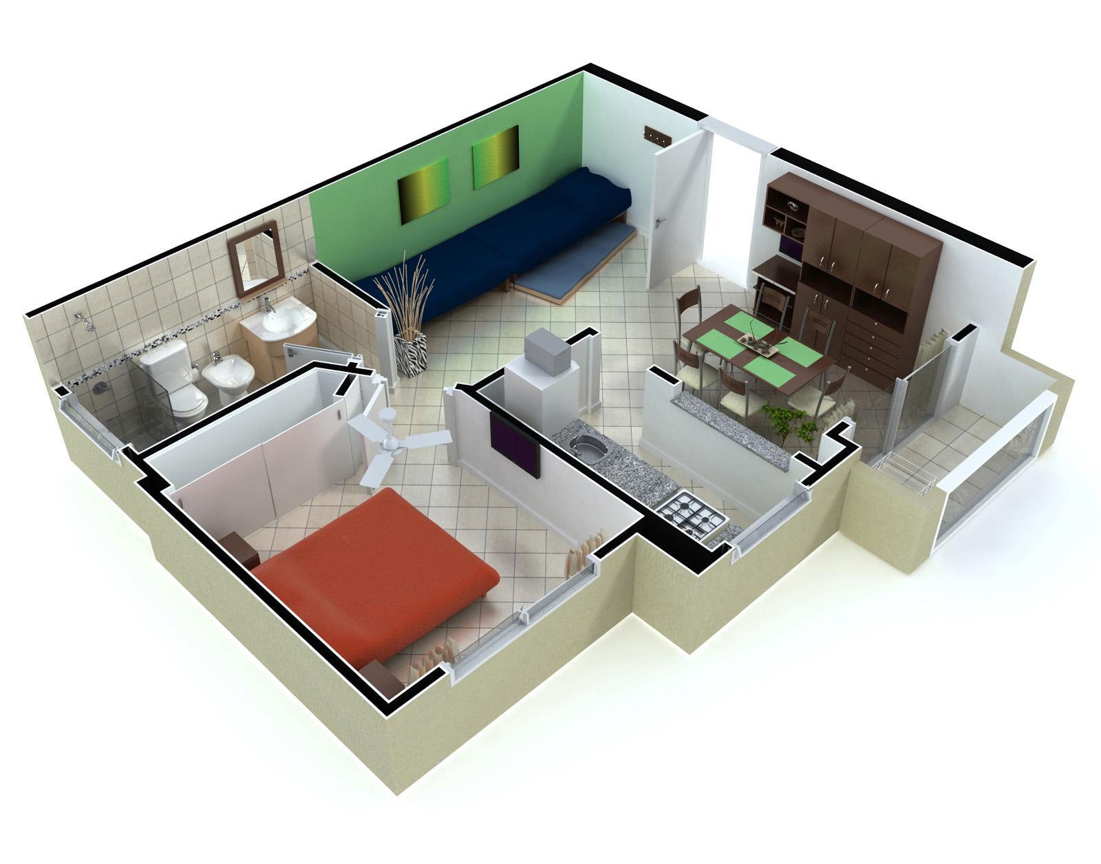 Planos de departamentos modernos en 3d for Planos de departamentos